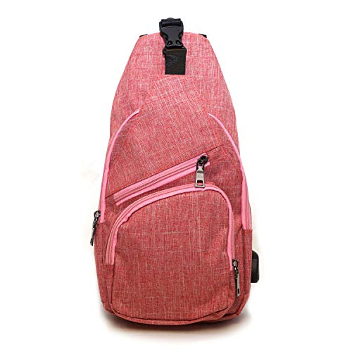 NuPouch Anti Theft Day Pack Backpack with USB Charging Connector, Large, Rose