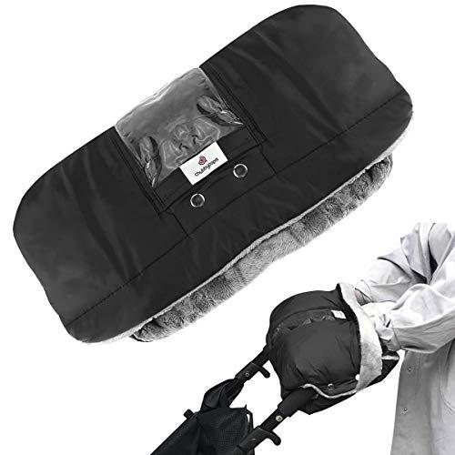 Yinuoday Manoplas para silla de paseo, guantes de cochecito Manguito para cochecito con bolsillo para teléfono Invierno Impermeable Bebé Cochecito Guantes de Lana