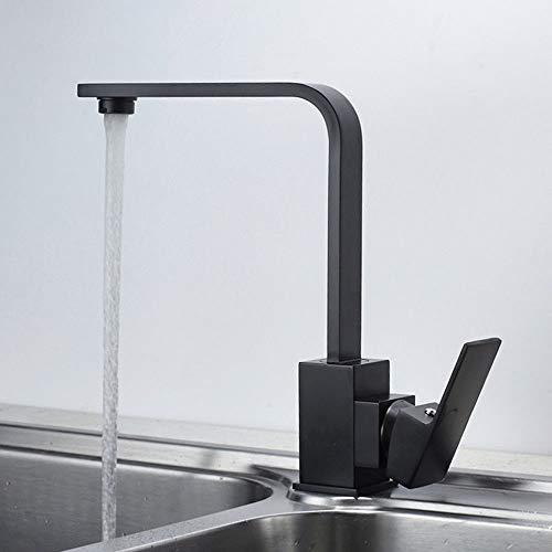 Grifo de cocina cuadrado, color negro, grifo de cocina moderno para fregadero