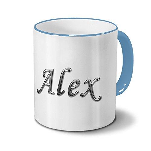 Tasse mit Namen Alex - Motiv Chrom-Schriftzug - Namenstasse, Kaffeebecher, Mug, Becher, Kaffeetasse - Farbe Hellblau