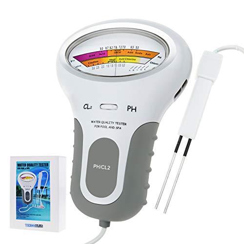 Portable 2 in 1 Wasserqualität PH und Chlor Level CL2 Tester Meter für Schwimmbad Spa Trinkwasser Qualität Analyse Monitor