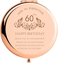 60th Birthday Gift for Women Stainless Steel Portable Compact Makeup Mirror Behind You All Your Memories Best 60 Years Old Birthday Gift with Gift Box Engraved Mirror for Wife Friend Rose Gold