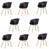 Un conjunto de cuatro sillas de comedor de lujo y luz estilo escandinavo, patas de madera de haya natural, adecuadas para sala de estar, dormitorio, varios lugares de entretenimiento, etc. (negro, 8)