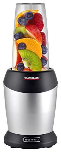 Gastroback 41029 Design Micro Blender, Smoothie-Maker, Standmixer inkl. 2 Mixbecher und to go-Verschluss, Kunststoff, silber