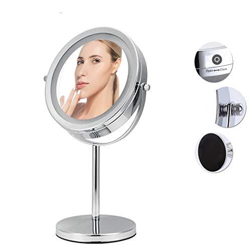 WXF Miroir Maquillage Lumineux, Miroir Grossissant 7-10X Et 1x Miroir Voyage Portable Compact Pliable Rotation 360°Double Face Luminosité Hauteur Angle Réglables Miroir en Pied Chambre