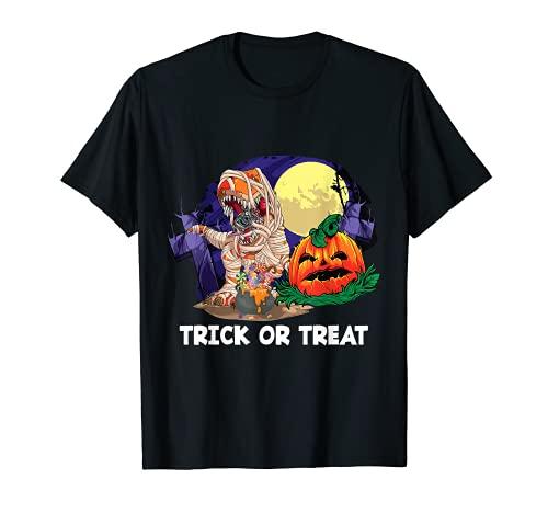 Truco o trato de calabaza para momia T Rex de Halloween Camiseta