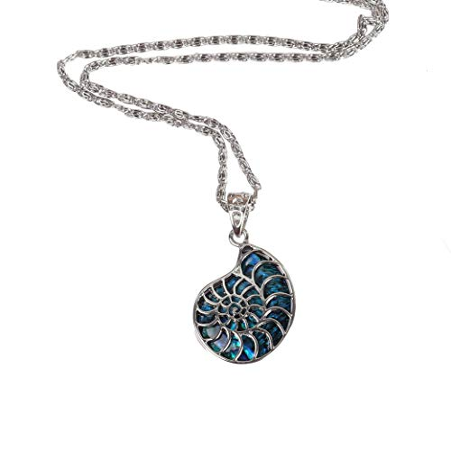 YUTOO Natural Abalone Shell Inlay Ammonite Design Necklace for Women and Man