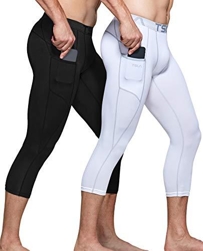 TSLA Men's 3/4 Compression Pants, Running Workout Tights, Cool Dry Capri Athletic Leggings, Yoga Gym Base Layer, Athletic Pocket 2pack(muc84) - Black/White, Large