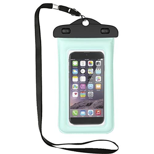MARSPOWER Bolsa de teléfono móvil de PVC Impermeable, Ligera y Universal de 5.5 Pulgadas con Correa de Clip sellable con Bloqueo Giratorio Doble - Verde y Transparente