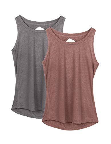 icyzone Damen Yoga Sport Tank Top - Rückenfrei Fitness Shirt Oberteil ärmellos Training Tops (S, Grey/Mocha