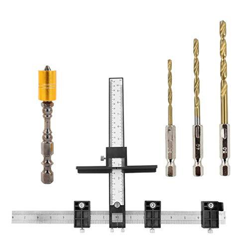 POHOVE M35 Gabinete Hardware Jig, guía de perforación de madera, juego de plantillas de perforación, localizador de perforación, perilla de cajón, plantilla para puertas y cajones