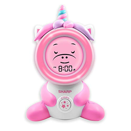 """Sharp Ready to Wake Unicorn Sleep Trainer, Kid's Alarm Clock for Ready to Rise, Ceiling Projection Nightlight and """"Off-to-Bed"""" Feature – Simple to Set and Use!"""