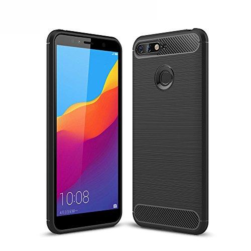König Design Handy-Hülle kompatibel mit Huawei Honor 7A Silikon Hülle Hülle Sturzsichere Back-Cover Handyhülle - Carbon - Schwarz