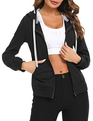 Sykooria Sportjacke Damen Laufjacke Slim Fit Sweatjacke Trainingsjacke mit Reißverschluss für Yoga Fitness