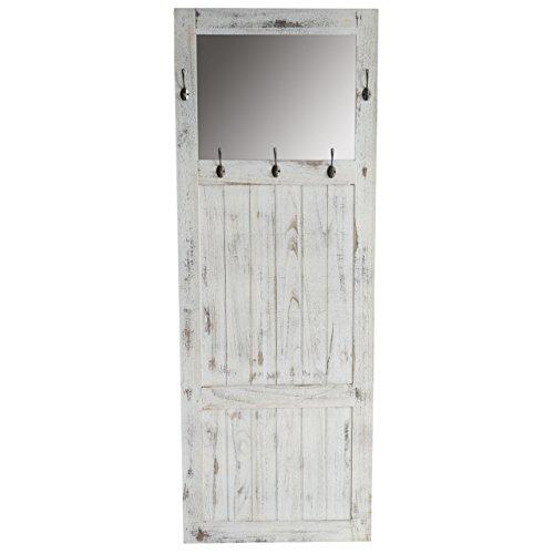 Mendler Garderobe Wandgarderobe mit Spiegel Wandhaken 180x65x7cm, Shabby-Look, Vintage - weiß
