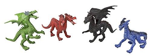 Idena 40090 - Spielfigurenset mit 4 Drachen, aus Kunststoff, jeweils ca. 16 cm groß, Spielspaß für die Badewanne, den Sandkasten, im Kindergarten und Kinderzimmer