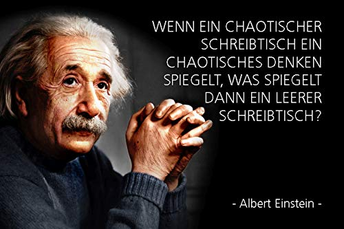 FS Albert Einstein - Wenn EIN chaotischer Schreibtisch EIN chaotisches Denken spiegelt. Blechschild Schild gewölbt Metal Sign 20 x 30 cm