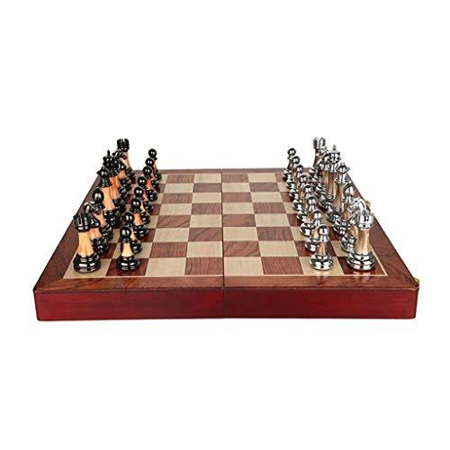 KHUY Schachspiel Hochwertig, Schachbrett Antik/Schachfiguren Holz Grob, Premium Schach Philos für Erwachsene Geschenke Massivholz Schachbrett Retro Europäischen Stil Ornamente