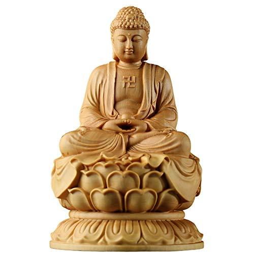 NIAN Buchsbaum-Figur, Zen, Massivholz, geschnitzt, Handwerk, Auto, kleine Buddha-Statue