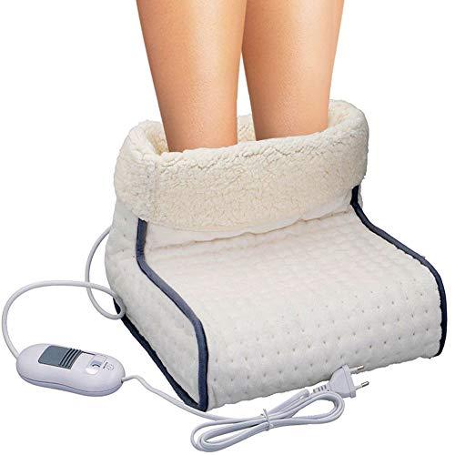Bakaji Scaldapiedi Materiale traspirante extra-morbido, Riscaldamento rapido con 100 watt, 3 impostazioni di temperatura, Ampio spazio per i piedi, Lavabile in Lavatrice