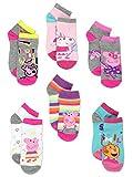 Peppa Pig Girls 6 Pack Quarter Socks Set (6-8 Girls (Shoe: 10.5-4), Peppa & Friends Quarter)