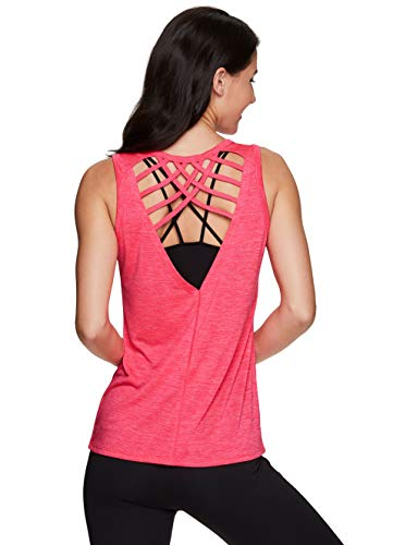 RBX Active Women's Yoga Strappy Back Tank Top Charcoal Heather Strappy S