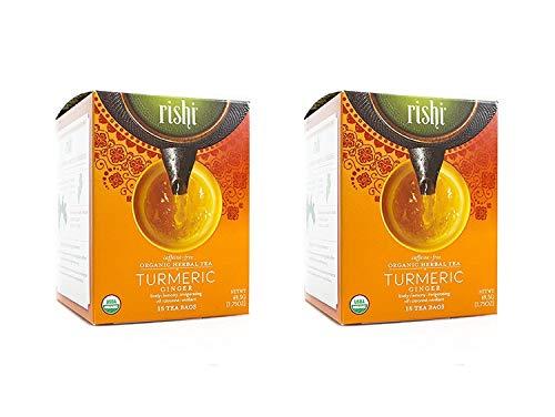 Rishi Tea Turmeric Ginger Tea, Organic Caffeine-Free Herbal Tea Sachet...
