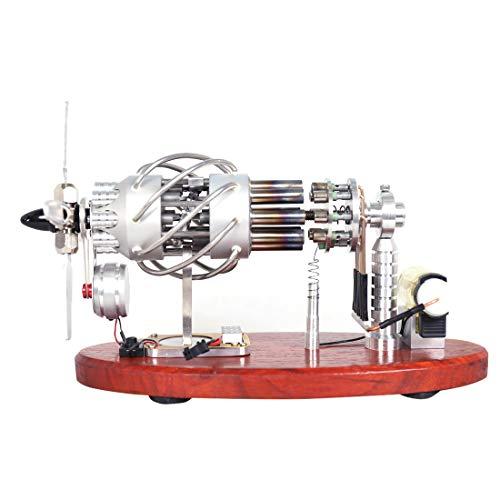 CT-Tribe Stirlingmotor, 16-Zylinder-Taumelscheibe Stirlingmotor mit Voltmeter und LED-Lampenperlen, Stem Spielzeug und Wissenschaft Motor Kit