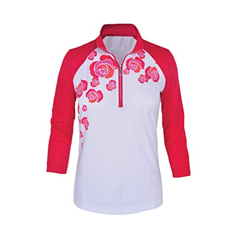 Monterey Club Women's Wild Roses Stamp Contrast 3/4 Sleeve Top #2386 (Red/White, Large)