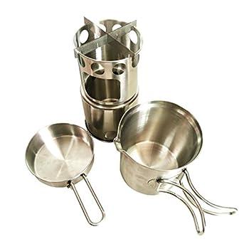 Four à bois léger avec système de cuisson Rocket - Kit de cuisine d'extérieur - Brûle les branches - Pas de piles ni de bidon de combustible liquide nécessaire pour le camping, la survie