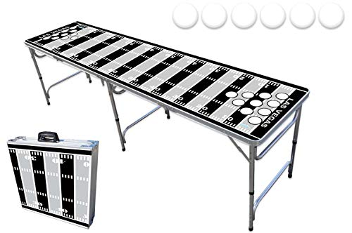 8-Foot Professional Beer Pong Table w/Holes - Las Vegas Football Field Graphic