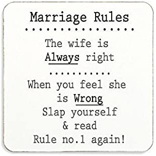 Marriage Rules Cork Coaster Novelty Gift Anniversary Wedding Engagement Funny Present:Btc4you