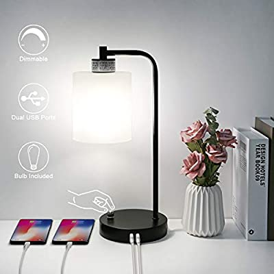 Industrial Table Lamp Stepless Dimmable Boncoo Vintage Nightstand Lamp with Dual USB Ports Desk Reading Lamp Glass Shade Metal Base Bedside Lamp for Living Room Office Dorm, ST64 6W Bulb Included