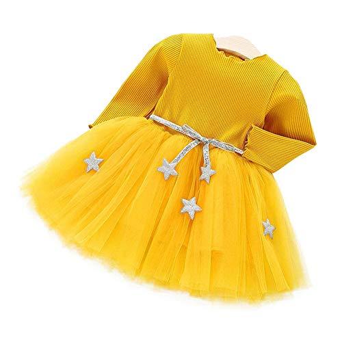 Babyjurk met lange mouwen, gebreide tutu jurk met princess tule jurk met ster band katoenmix rok voor kinderen tutu 90 geel