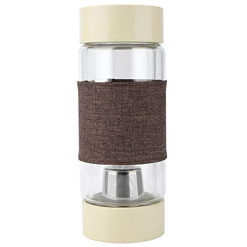 Doppelwandige Glasflasche Tragbare Wasserflasche Tee-Trennung Edelstahl-Filterbecher(Flachs braun)
