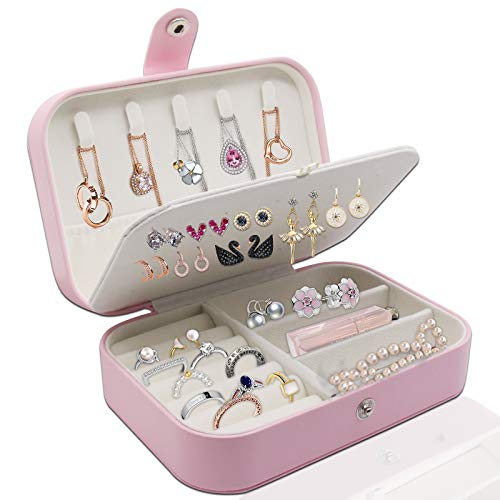Schmuckkästchen, Damen Reise Schmuckkoffer, Schmuckkästchen Damen PU-Leder, Herausnehmbare Reise-Box, für Ringe, Armbänder, Ohrringe, Halsketten, als Geschenk