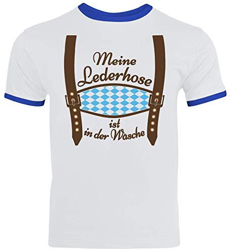 ShirtStreet Gaudi Wiesn Oktoberfest Herren Männer Ringer Trikot T-Shirt Meine Lederhose ist in der Wäsche, Größe: L,White/Royal Blue