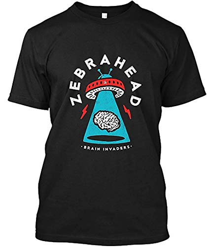 Men's Brain Invaders-Zebrahead Casual T-Shirt,Black,5X-Large