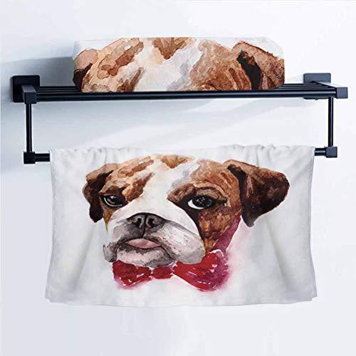 English Bulldog Hand Towel No Shrinkage - Stylish Watercolor Dog Portrait with a Bow Tie Design Brush Stroke Effect Brown Ruby Black 10' W x 40' L