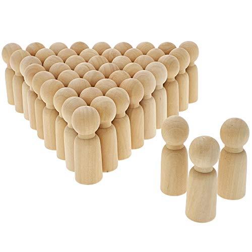 Wood Peg Dolls, Peg Doll Kit (2.4 in, 50-Pack)