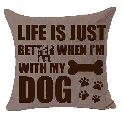"""Life is Better When I'm with My Dog Paw Print Bones Fun Quote Best Gift for Pet Dog Animal Cotton Linen Square Throw Pillow Case Decorative Cushion Cover Pillowcase for Bed Coach Sofa 18""""x 18"""" inch"""