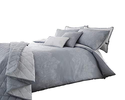 Luxe réversible Imprimé cachemire Gris Blanc Parure de lit Housse de couette Définit et accessoires, Boudoir Cushion