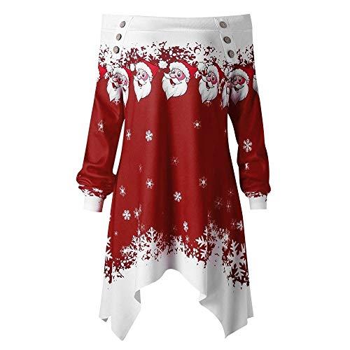 OverDose Damen Pullover Pullover Frauen Weihnachten Weihnachtsmann Schneeflocke Print Party Clubbing Schlanke Tasche Caps Tops Sweatshirts Outwear