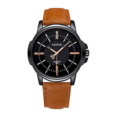 Sunbaca Relógio masculino de quartzo Requintado relógio de pulso masculino com exibição de tempo preciso 3ATM à prova d'água Relógios empresariais pulseira de couro masculino moda pulseira presentes