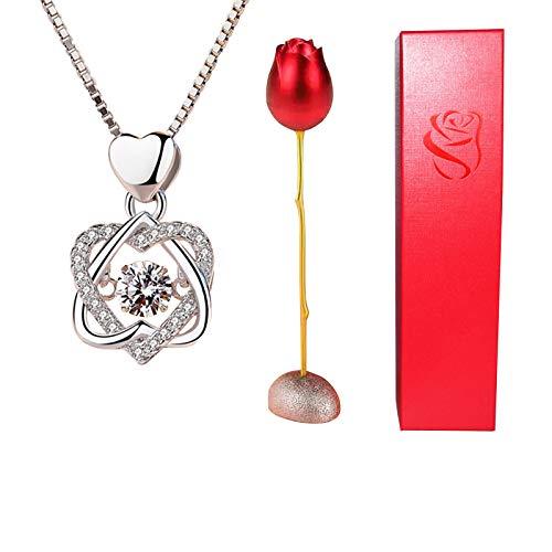 HJCC Collar Mujer Collar Colgante con Caja De Anillo Rosa, Regalo De San Valentín para Ella, Cadena 45Cm Longitud,B