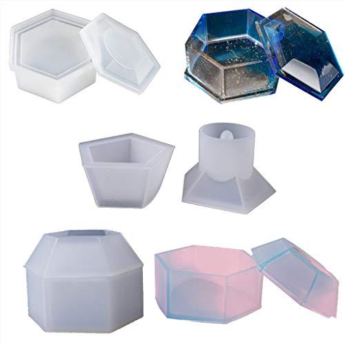 Museourstyty moldes de resina para manualidades, joyero con forma de pentagonal transparente moldes de resina epoxi