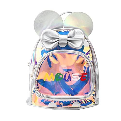 YIFengFurun Mochila para niños niña de dibujos animados mochila oreja mochila jardín de infantes bolsa escolar plata