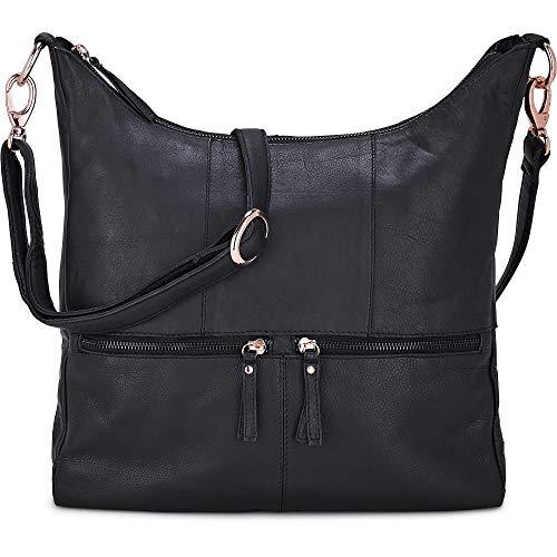 Cox Damen Umhängetasche aus Leder, Handtasche in Schwarz mit Details in Rose-Gold (36 x 31 x 8 cm) Schwarz Leder 1