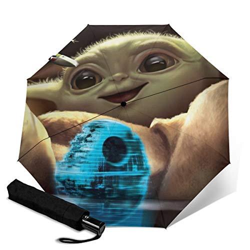 Paraguas de viaje plegable de Star Wars Yoda de tres pliegues, paraguas...