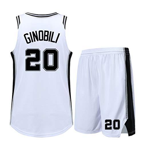 YHIU Herren Basketball Trikot-Manu GinóBili San Antonio Spurs # 20 Trikot, Basketball Sportbekleidung Kits, 1 Tops +1 Shorts-White-XXL